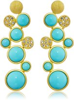 Kenneth Jay Lane Gold, Rhinestone and Color Drop Earrings