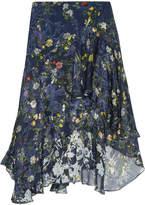 Preen by Thornton Bregazzi Laboni Floral-print Devoré Silk-blend Chiffon Midi Skirt - Navy