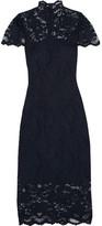 GANNI - Flynn Stretch-lace Turtleneck Midi Dress - Midnight blue