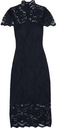 Ganni Flynn Stretch-lace Turtleneck Dress - Midnight blue