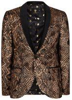 Topman NOOSE & MONKEY Gold Textured Animal Print Blazer