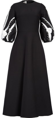 Valentino Floral Sequin Balloon Sleeve Wool & Silk Maxi Dress