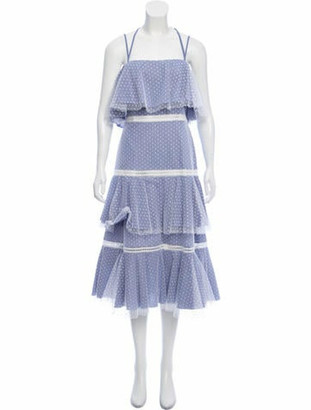Prabal Gurung Sleeveless Tiered Midi Dress w/ Tags Blue