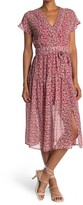 Thumbnail for your product : Love Stitch Chiffon Floral Printed Surplice Dress