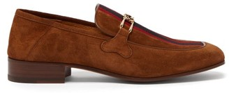 Gucci Phyllis Web-stripe Suede Loafers - Brown