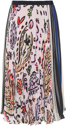 Paul Smith Printed Plisse Crepe De Chine Skirt