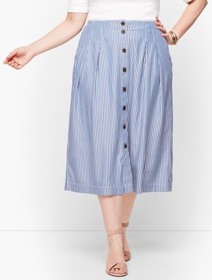 Talbots Stripe Button Front Pleated Skirt
