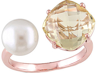 Pearls Rose Gold Over Silver 0.70 Ct. Tw. Lemon Quartz & 8-8.5Mm Pearl Ring