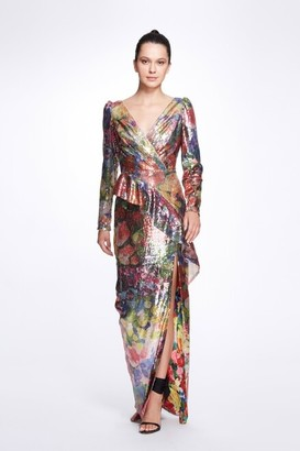 Marchesa Notte Long Sleeve V-Neck Printed Sequin Gown