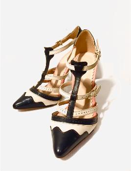 Katty Xiomara - JJ. Heltor Stiletto Leather Shoes - 37 - Black/White