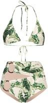 Adriana Degreas Tropical Print Hoop-Embellished Bikini
