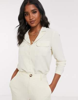 Vero Moda pocket front 70s blouse-Beige