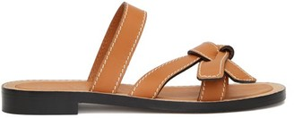 Loewe Gate Knot-front Leather Slides - Womens - Tan