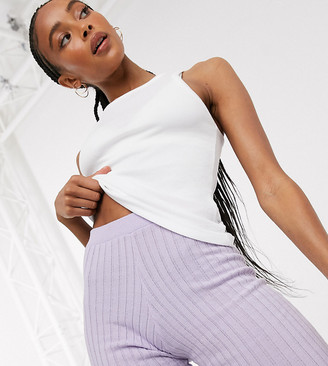 Collusion knitted shorts co ord in lilac