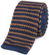 Gibson Brown And Navy Stripe Knitted Tie