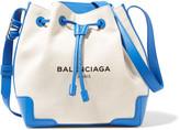 Balenciaga Leather-trimmed Canvas Bucket Bag - Ecru