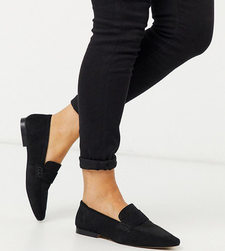 Asos DESIGN Wide Fit Motion suede loafers in black