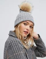 Pieces Pom Beanie In Light Gray