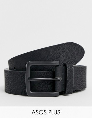 ASOS DESIGN Plus wide belt in black faux leather and coated buckle