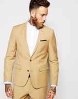 Asos Slim Suit Jacket In Camel - Brown