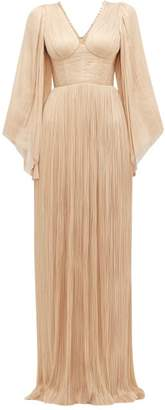 Maria Lucia Hohan Catalina Plisse Silk-tulle Maxi Dress - Womens - Light Pink