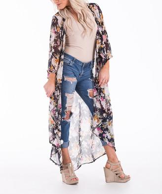 Aili's Corner Women's Kimono Cardigans Dark - Dark Navy Floral Duster - Women