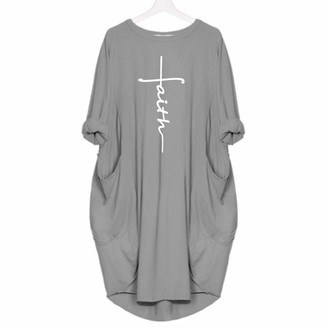 yssgtt Women Long Sleeve Faith Letter Printed T-Shirt Plus Size Casual Loose Shirt Dress with Pocket Grey