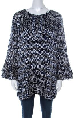 Tory Burch Navy Blue and White Printed Silk Ruffle Detail Top XL