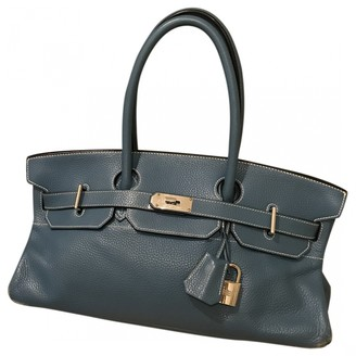 Hermã ̈S HermAs Birkin Shoulder Blue Leather Handbags