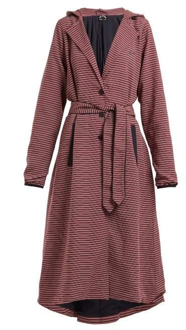 The Upside Striped Hooded Tie Waist Linen Blend Jacket - Womens - Burgundy Stripe