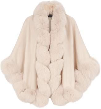 Harrods Fox Fur-Trim Cashmere Cape