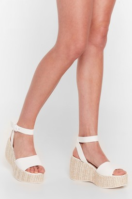 Nasty Gal Womens Woven Right Platform Wedge Sandals - White