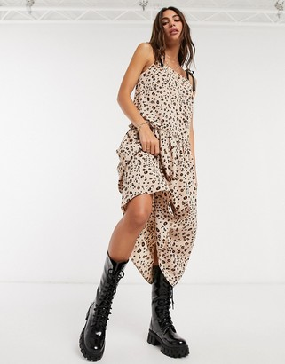Topshop drape waist dress in brown