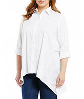 Westbound Plus Roll Sleeve Button Front Tunic