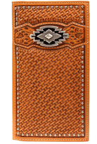 Ariat Cognac Rodeo Perforated Leather Wallet