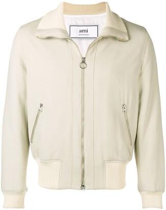 Ami Paris Funnel Neck Zipped Jacket