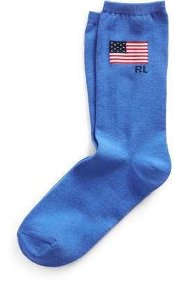 Ralph Lauren Flag Knit Crew Socks