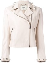 Fendi studded leather cropped jacket - women - Silk/Lamb Skin/Plastic - 42