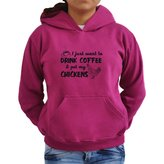 Eddany I just want to drink coffee and pet my chickens Women Hoodie