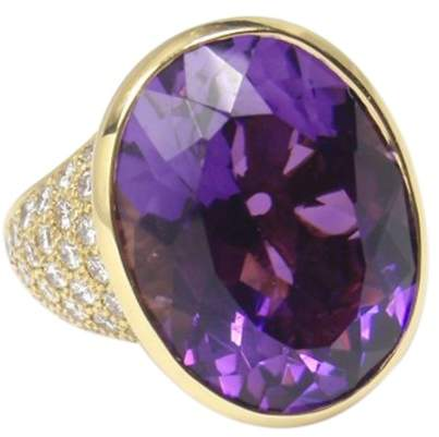 Tiffany & Co. Paloma Picasso 18K Yellow Gold Amethyst & Diamond Ring Size 6.5