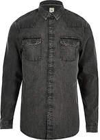 Mens Grey acid wash long sleeve denim shirt