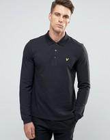 Lyle & Scott Long Sleeve Pique Polo Eagle Logo in Black
