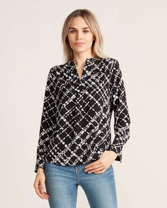 Calvin Klein Black & Cream Split Neck Long Sleeve Top