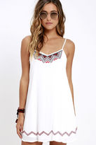 LuLu*s Living the Dream Ivory Embroidered Dress