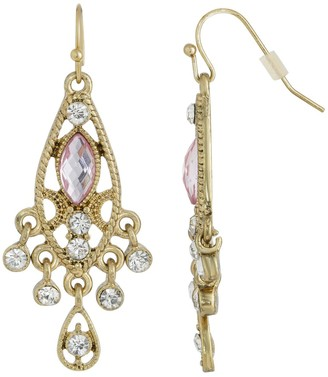 1928 Gold Tone Light Pink Simulated Crystal Faceted Drop Earrings