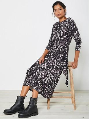 Mint Velvet CharlotteAnimal Print Tie Front Jersey Dress - Grey
