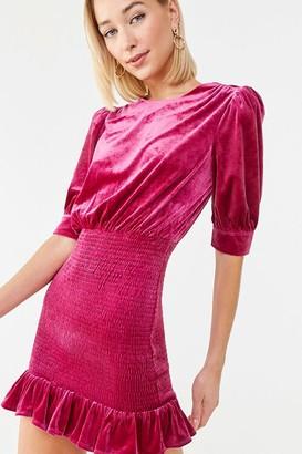 Forever 21 Velvet Smocked Mini Dress