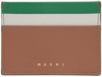 Marni Brown and Grey Saffiano Card Holder