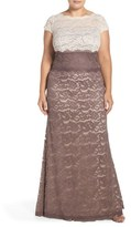 Adrianna Papell Colorblock Lace Gown (Plus Size)
