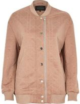 River Island Womens Pink quilted bomber jacket